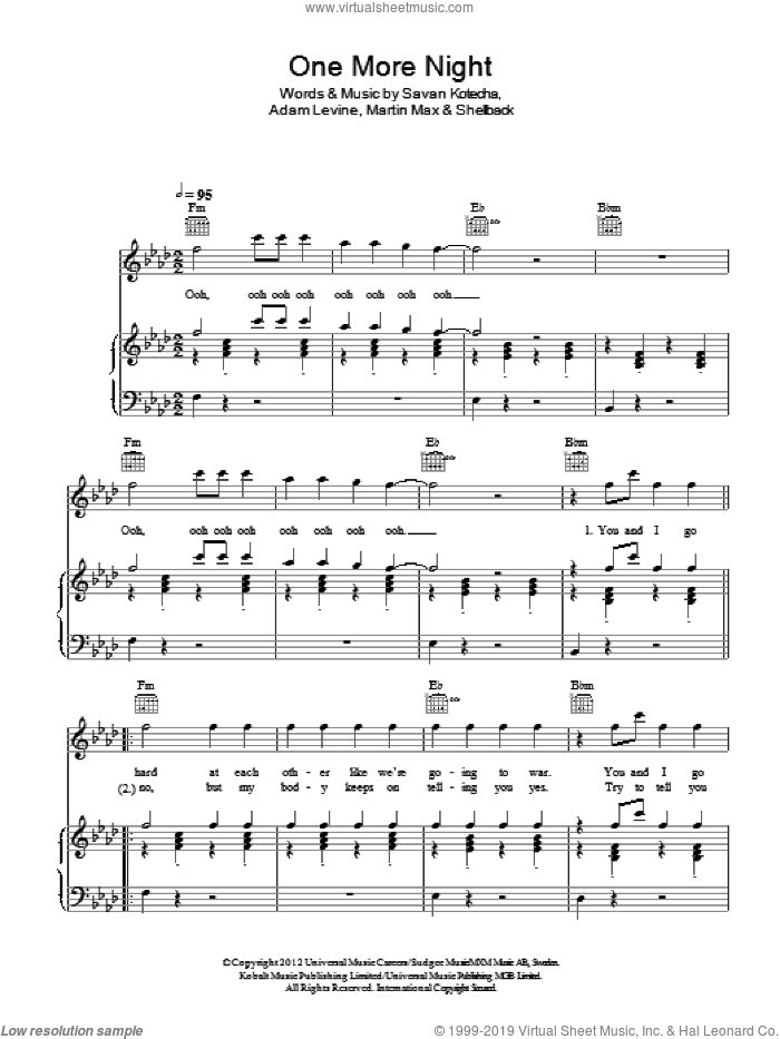 One More Night sheet music for voice, piano or guitar by Shellback, Maroon 5, Adam Levine, Martin Max and Savan Kotecha. Score Image Preview.