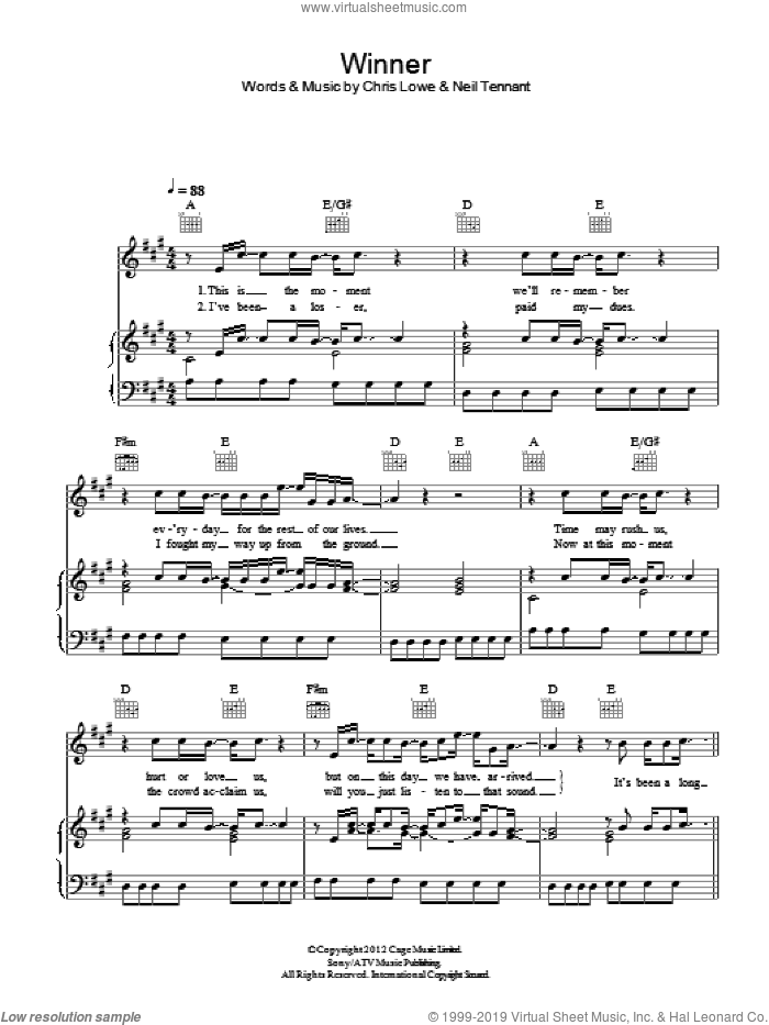 Winner sheet music for voice, piano or guitar by Pet Shop Boys, Chris Lowe and Neil Tennant, intermediate skill level