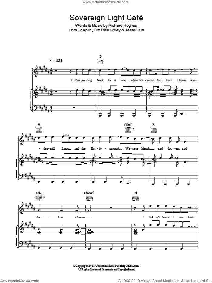 Sovereign Light Cafe sheet music for voice, piano or guitar by Tom Chaplin