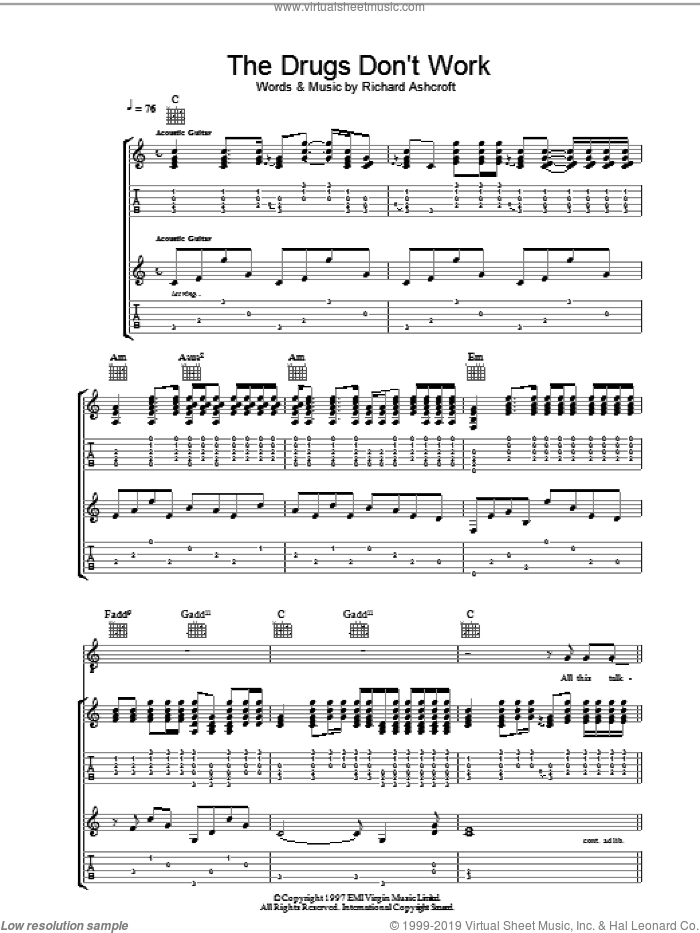 The Drugs Don't Work sheet music for guitar (tablature) by The Verve and Richard Ashcroft. Score Image Preview.