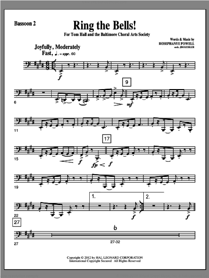 Ring The Bells! sheet music for orchestra/band (bassoon 2) by Rosephanye Powell