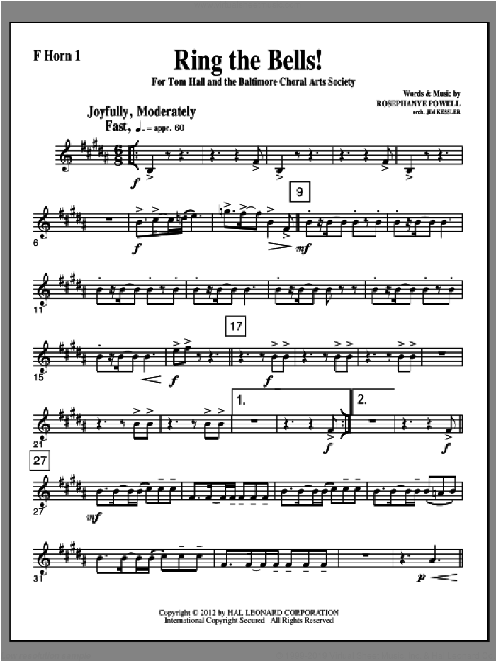 Ring The Bells! sheet music for orchestra/band (f horn 1) by Rosephanye Powell