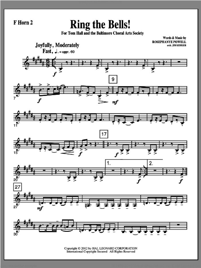Ring The Bells! sheet music for orchestra/band (f horn 2) by Rosephanye Powell