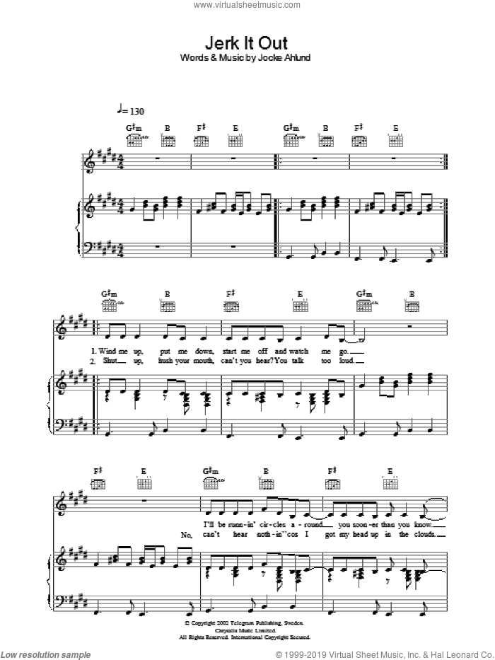 Jerk It Out sheet music for voice, piano or guitar by The Caesars and Jocke Ahlund, intermediate skill level
