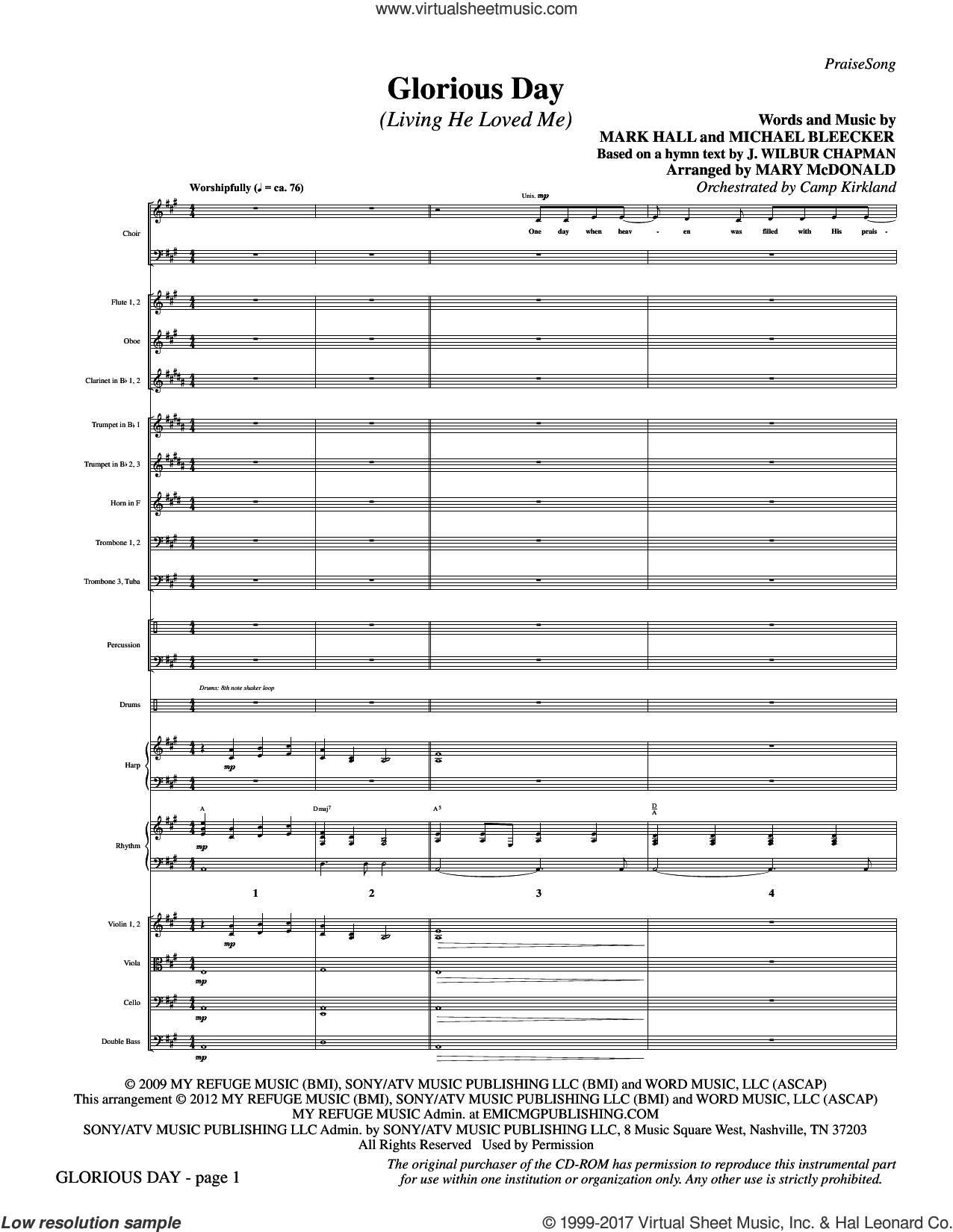 Glorious Day (Living He Loved Me) (complete set of parts) sheet music for orchestra/band by Mark Hall, Michael Bleaker, Casting Crowns and Mary McDonald, intermediate