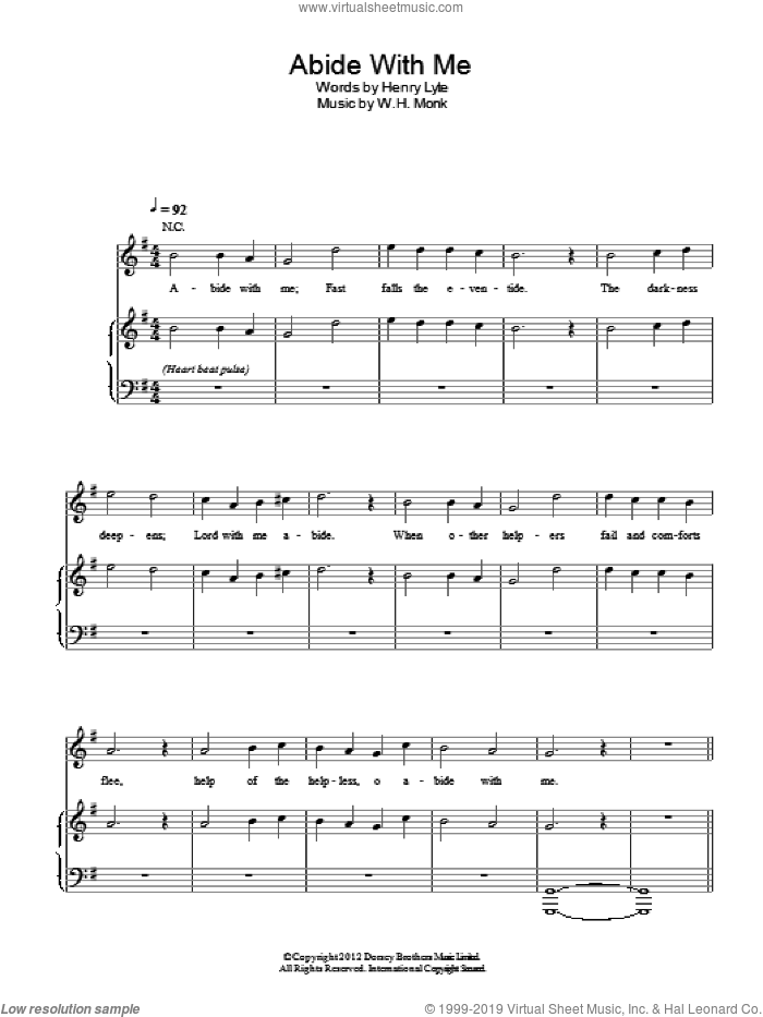Abide With Me sheet music for voice, piano or guitar by W.H. Monk