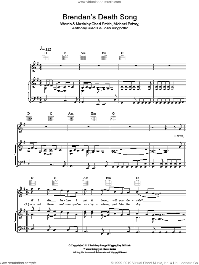 Brendan's Death Song sheet music for voice, piano or guitar by Red Hot Chili Peppers, Anthony Kiedis, Chad Smith, Josh Klinghoffer and Michael Balzary, intermediate skill level