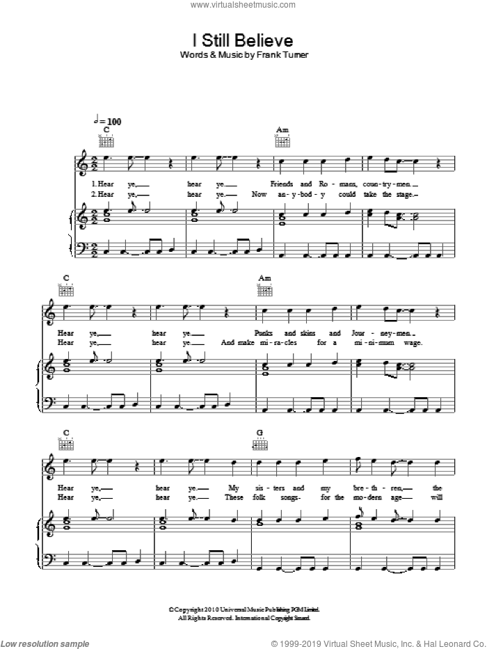 I Still Believe sheet music for voice, piano or guitar by Frank Turner, intermediate voice, piano or guitar. Score Image Preview.