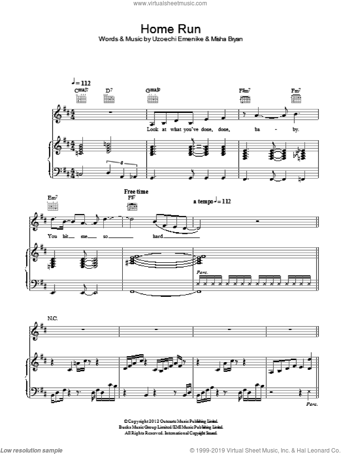 Home Run sheet music for voice, piano or guitar by Uzoechi Emenike