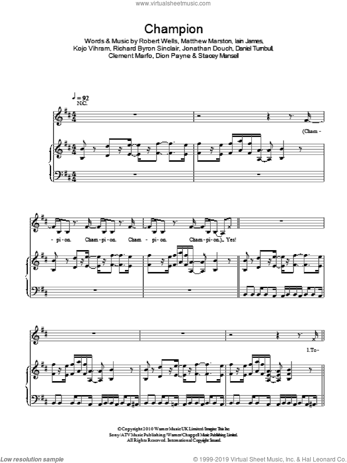 Champion sheet music for voice, piano or guitar by Stacey Mansell