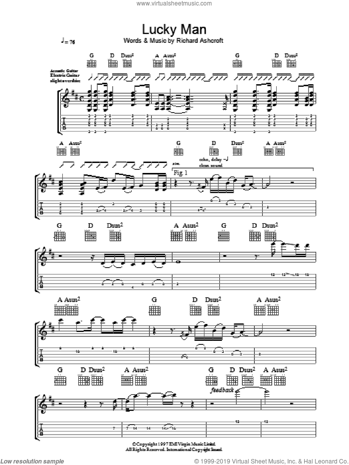 Lucky Man sheet music for guitar (tablature) by The Verve and Richard Ashcroft, intermediate skill level