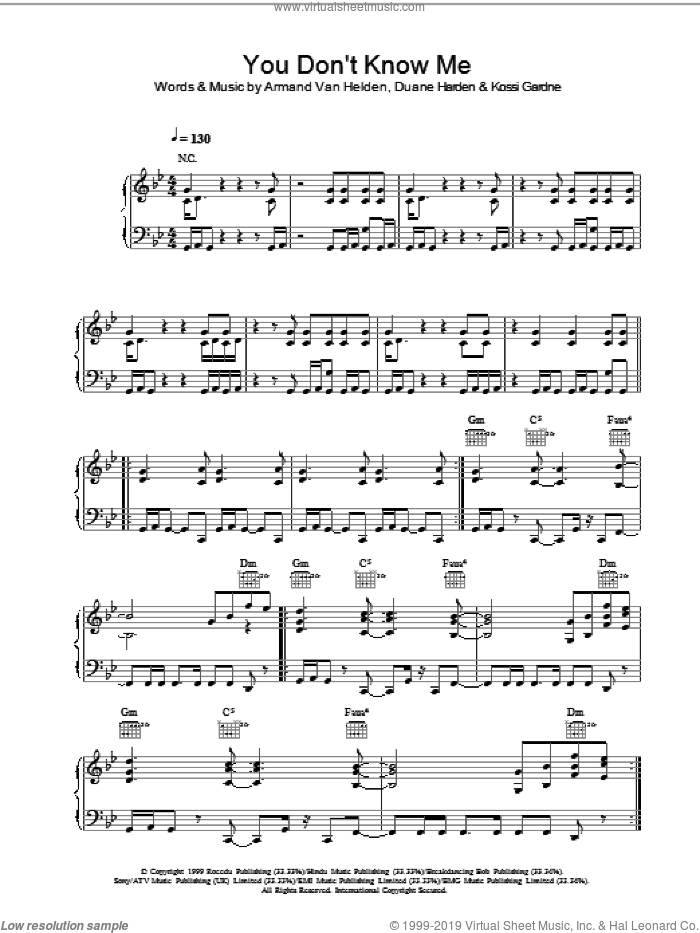 You Don't Know Me sheet music for voice, piano or guitar by Armand Van Helden, intermediate. Score Image Preview.