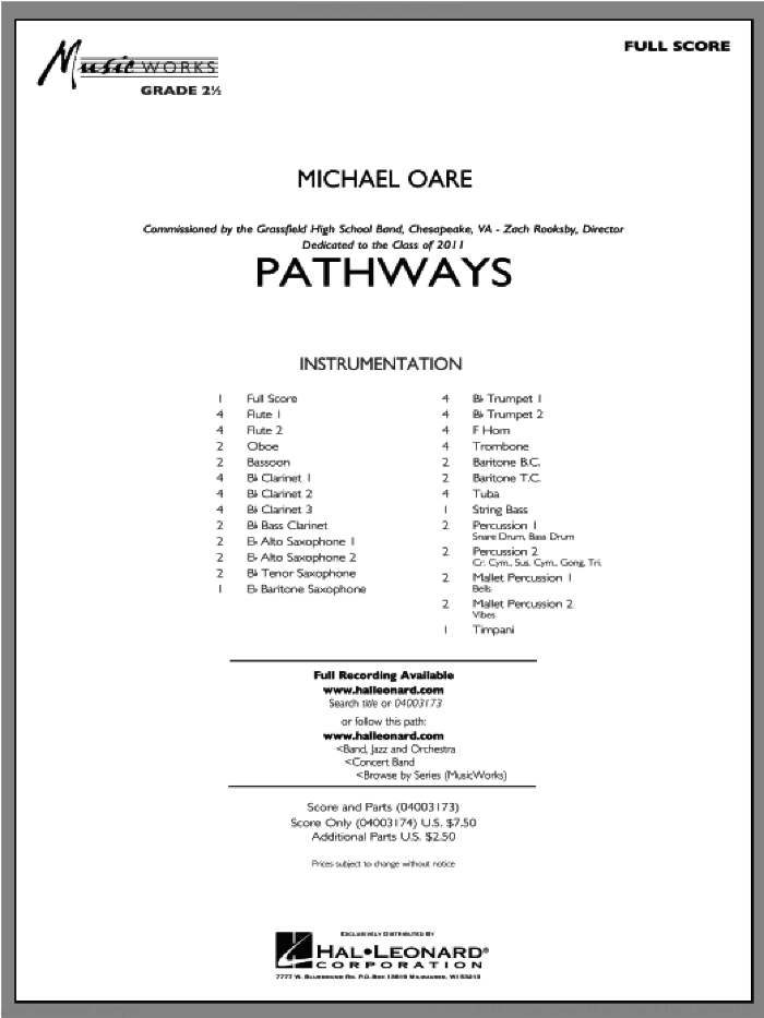 Pathways sheet music for concert band (full score) by Michael Oare