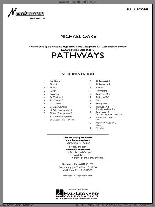 Pathways (COMPLETE) sheet music for concert band by Michael Oare