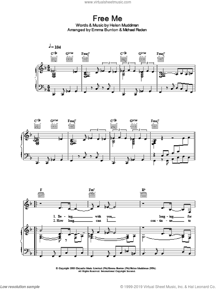 Free Me sheet music for voice, piano or guitar by Michael Reden and Emma Bunton. Score Image Preview.