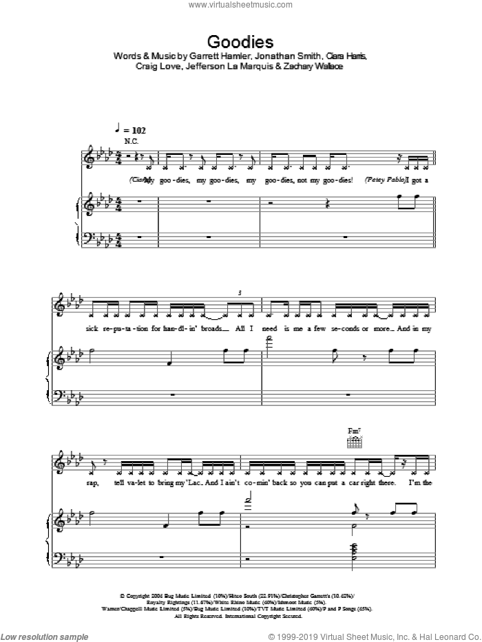 Goodies sheet music for voice, piano or guitar by Ciara, Ciara Harris, Craig Love, Garrett Hamler, Jefferson La Marquis, Jonathan Smith and Zachary Wallace, intermediate skill level
