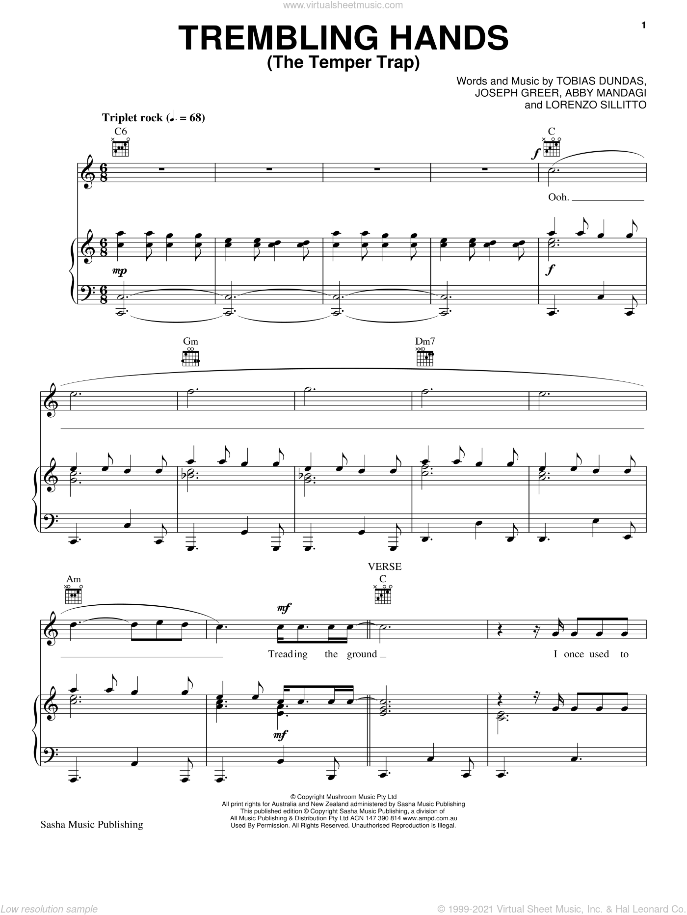 Trembling Hands sheet music for voice, piano or guitar by Temper Trap, Abby Mandagi, Joseph Greer, Lorenzo Sillitto and Tobias Dundas, intermediate skill level