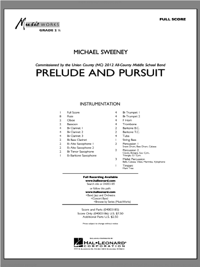 Prelude And Pursuit sheet music for concert band (full score) by Michael Sweeney