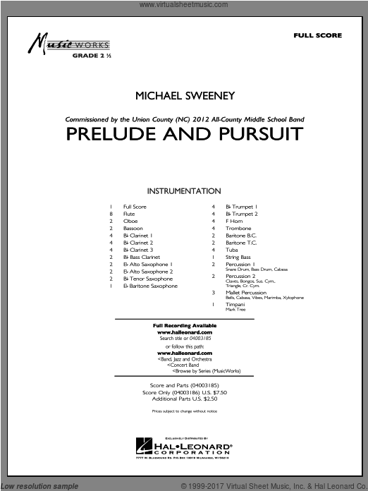 Prelude And Pursuit (COMPLETE) sheet music for concert band by Michael Sweeney