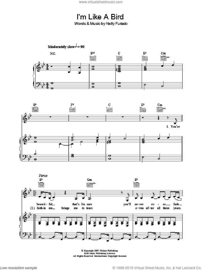 I'm Like A Bird sheet music for voice, piano or guitar by Nelly Furtado, intermediate voice, piano or guitar. Score Image Preview.