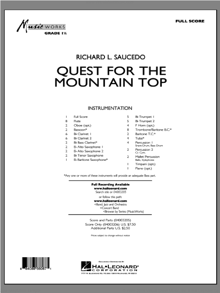 Quest For The Mountain Top (COMPLETE) sheet music for concert band by Richard L. Saucedo, intermediate skill level