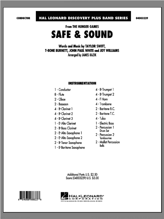 Sound (from The Hunger Games) sheet music for concert band (full score) by Taylor Swift