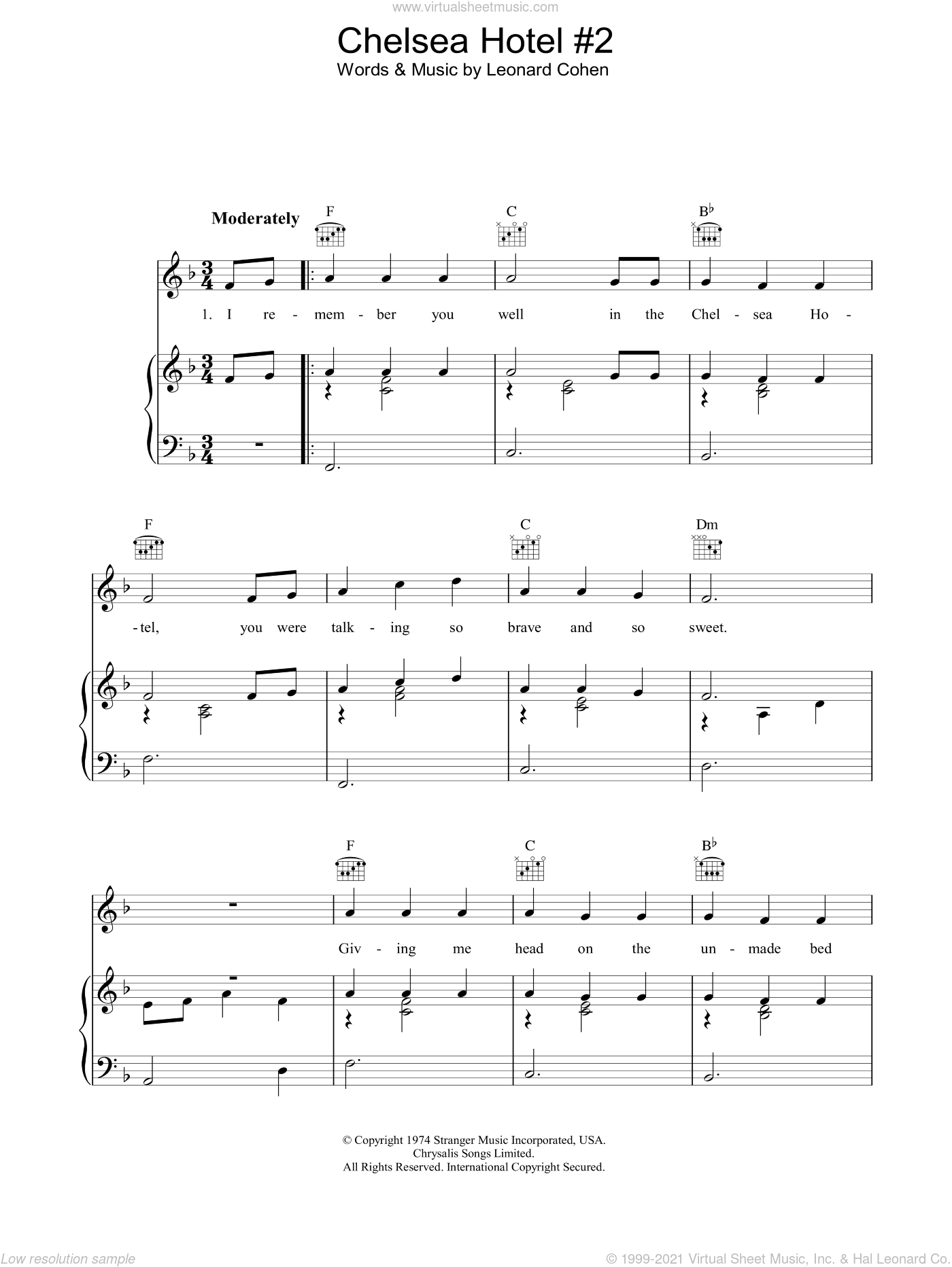 Chelsea Hotel #2 sheet music for voice, piano or guitar by Leonard Cohen, intermediate skill level