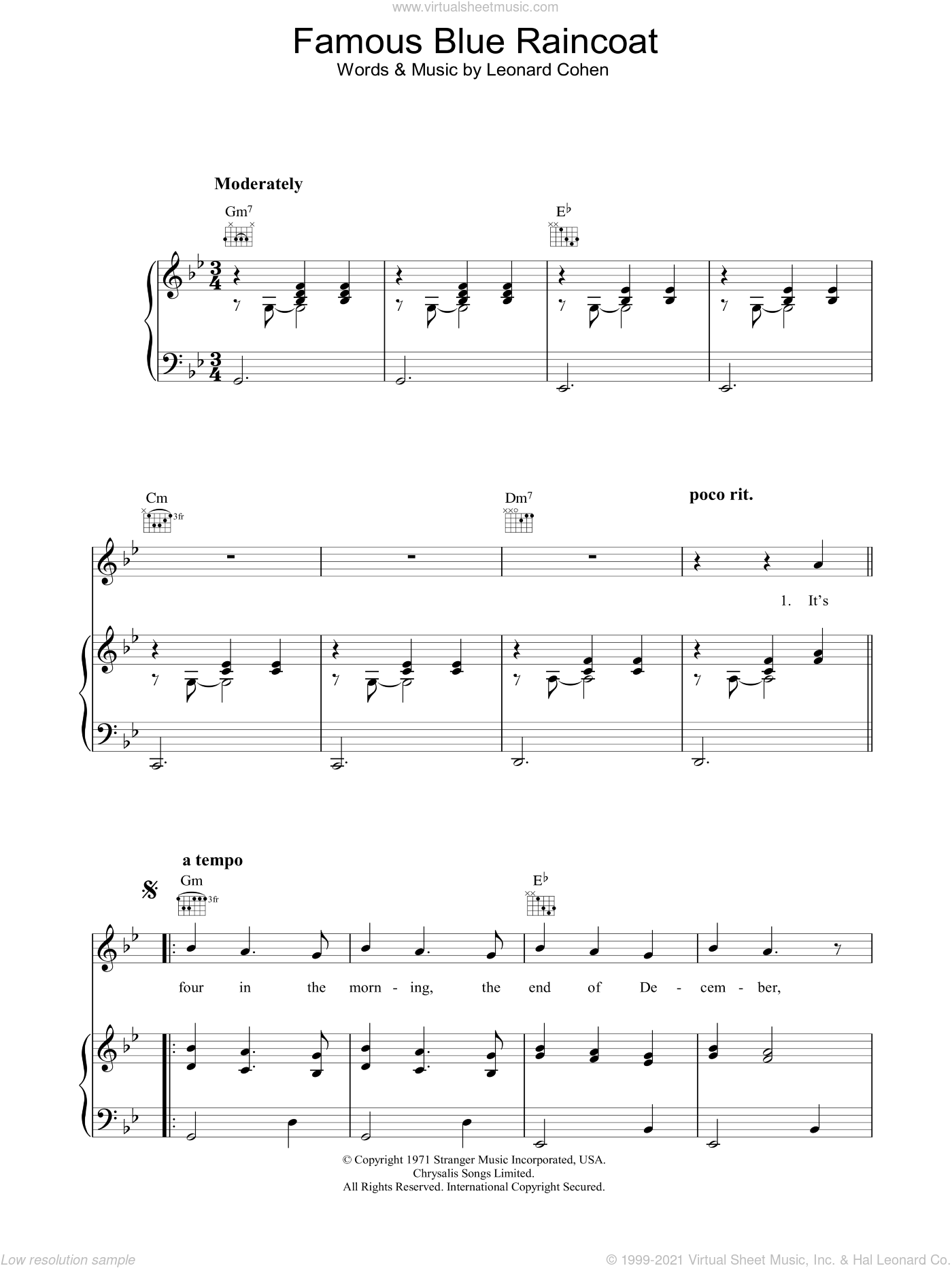 Famous Blue Raincoat sheet music for voice, piano or guitar by Leonard Cohen, intermediate skill level