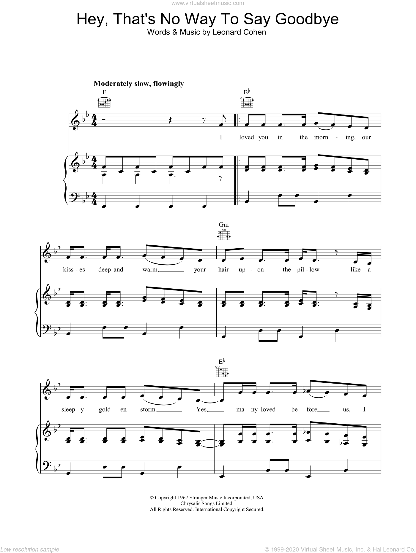 Hey, That's No Way To Say Goodbye sheet music for voice, piano or guitar by Leonard Cohen. Score Image Preview.