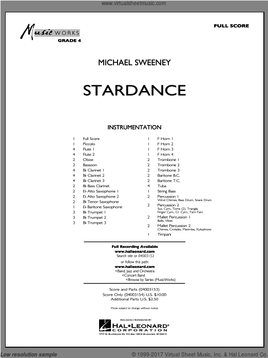 Stardance (COMPLETE) sheet music for concert band by Michael Sweeney