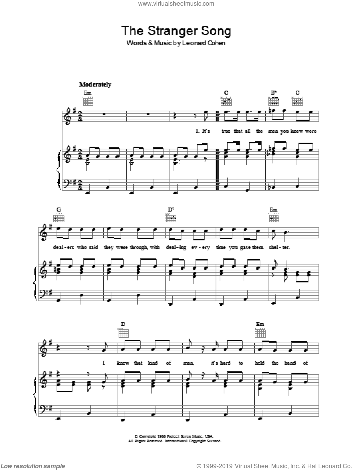The Stranger Song sheet music for voice, piano or guitar by Leonard Cohen. Score Image Preview.