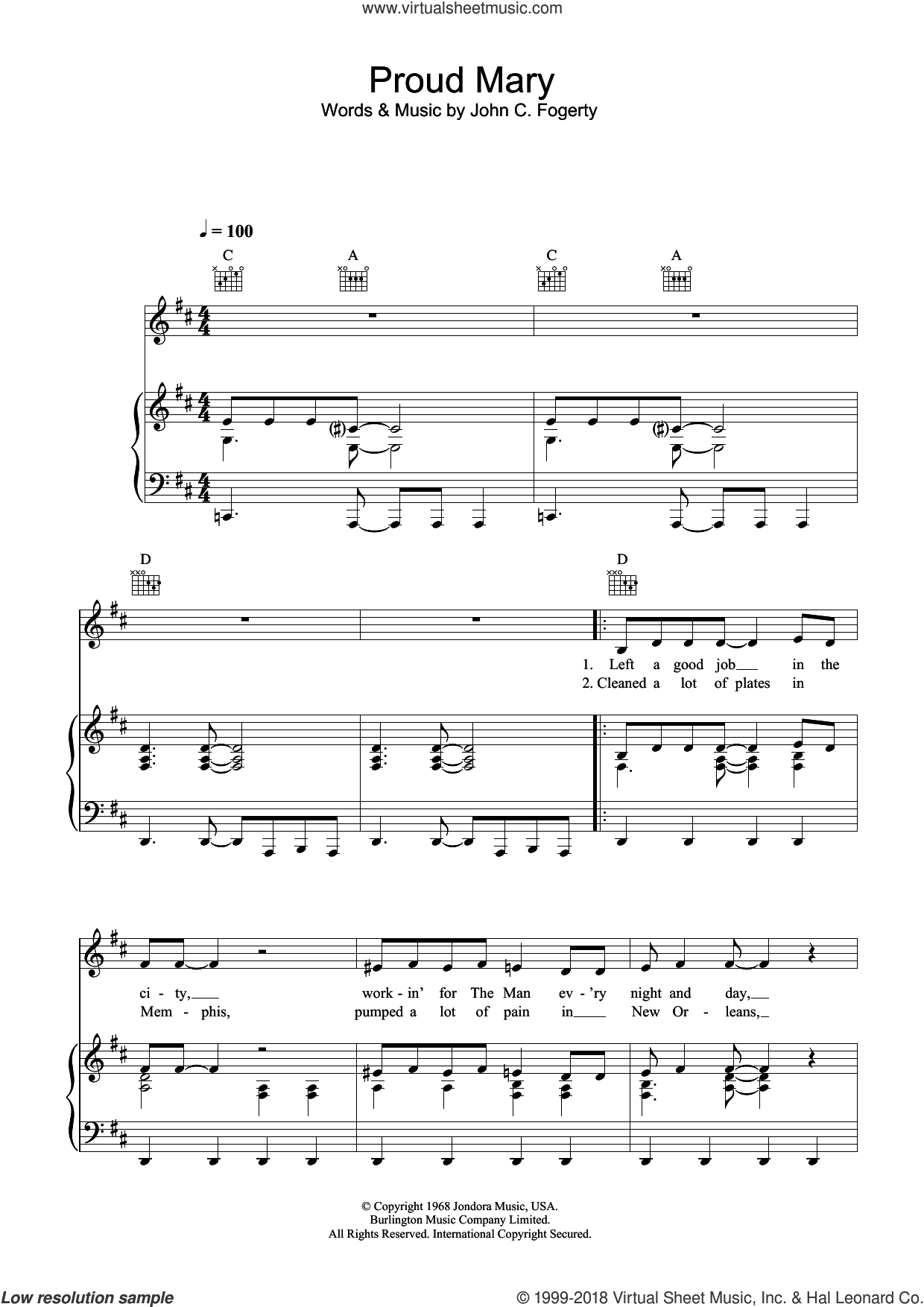 Proud Mary sheet music for voice, piano or guitar by Creedence Clearwater Revival, Ike & Tina Turner and John Fogerty, intermediate skill level