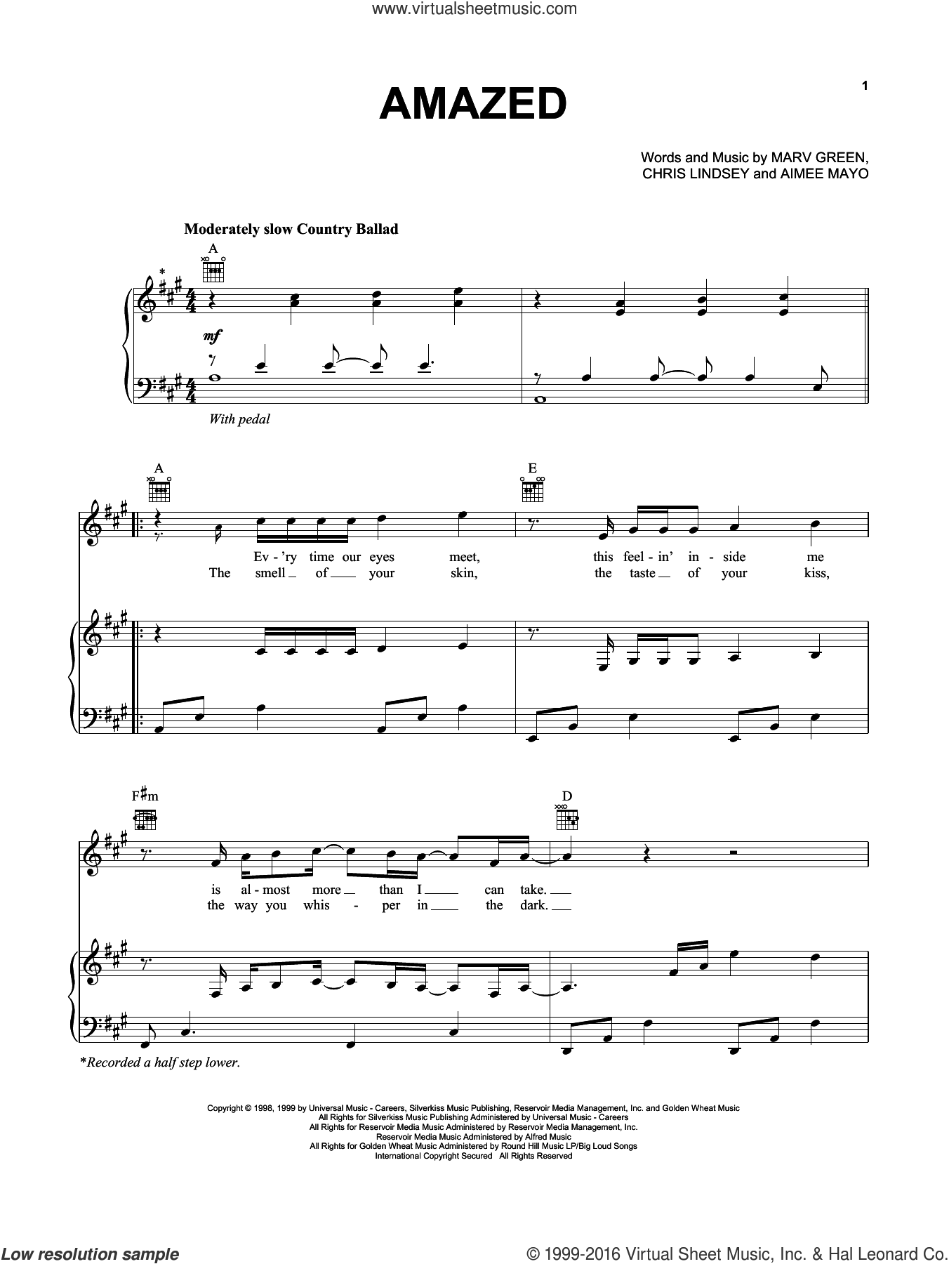 Amazed sheet music for voice, piano or guitar by Marv Green, Lonestar, Aimee Mayo and Chris Lindsey. Score Image Preview.