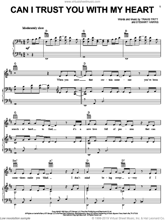 Can I Trust You With My Heart sheet music for voice, piano or guitar by Travis Tritt and Stewart Harris, intermediate. Score Image Preview.