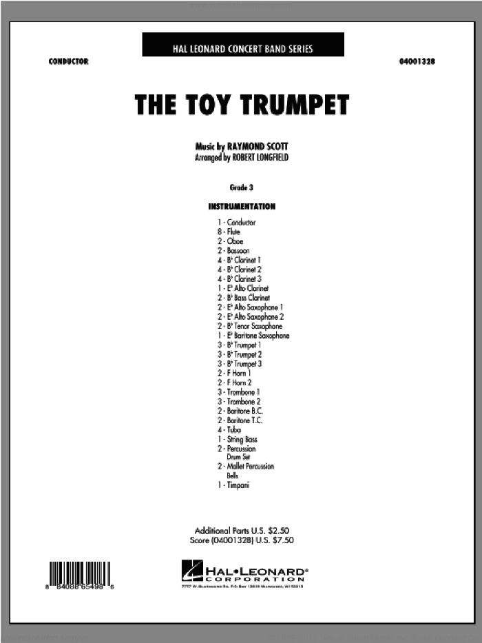 Toy Trumpet (Trumpet Solo and Section Feature) (COMPLETE) sheet music for concert band by Raymond Scott and Robert Longfield, intermediate skill level