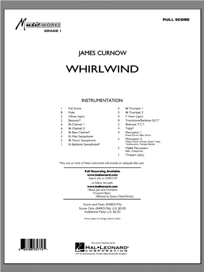 Whirlwind (COMPLETE) sheet music for concert band by James Curnow, intermediate concert band. Score Image Preview.