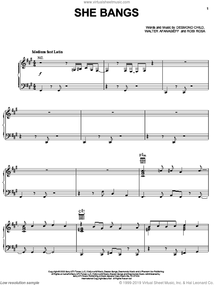 She Bangs sheet music for voice, piano or guitar by Ricky Martin, Desmond Child, Robi Rosa and Walter Afanasieff, intermediate skill level