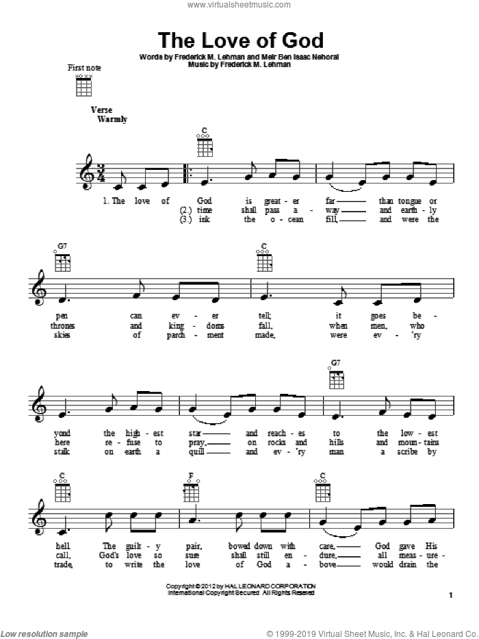 The Love Of God sheet music for ukulele by Meir Ben Isaac Nehorai and Frederick M. Lehman. Score Image Preview.