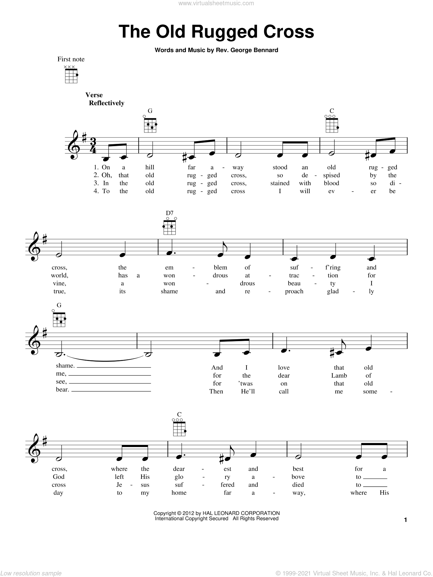 The Old Rugged Cross sheet music for ukulele by Rev. George Bennard, intermediate. Score Image Preview.