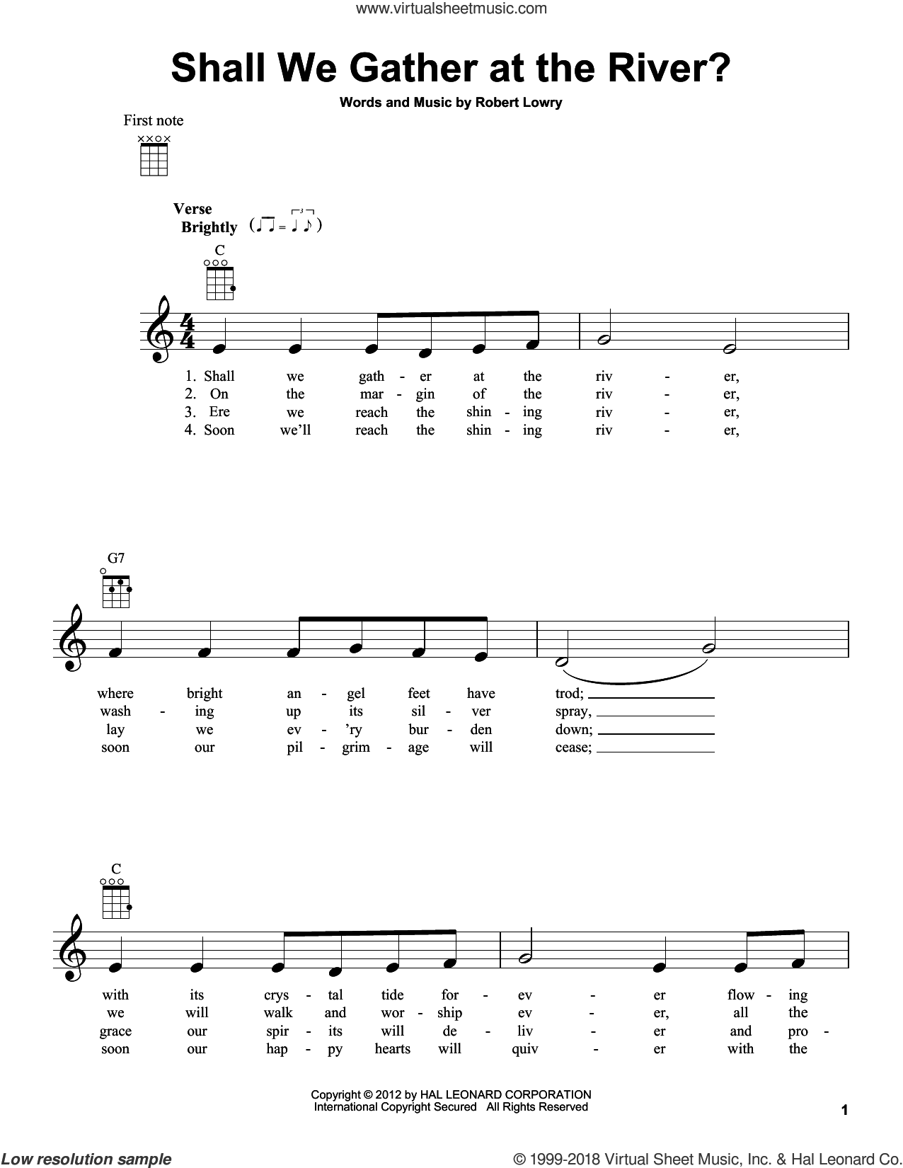 Shall We Gather At The River? sheet music for ukulele by Robert Lowry, intermediate skill level