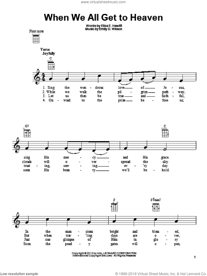 When We All Get To Heaven sheet music for ukulele by Eliza E. Hewitt and Emily D. Wilson. Score Image Preview.