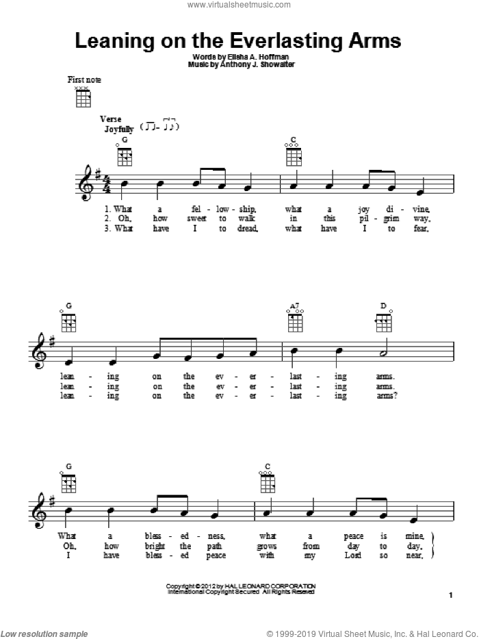 Leaning On The Everlasting Arms sheet music for ukulele by Elisha A. Hoffman