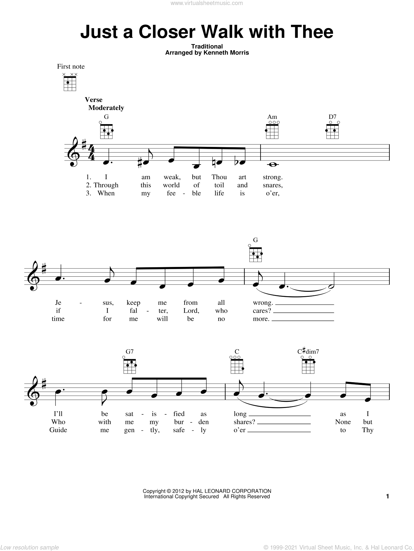 Just A Closer Walk With Thee sheet music for ukulele  and Kenneth Morris, intermediate. Score Image Preview.