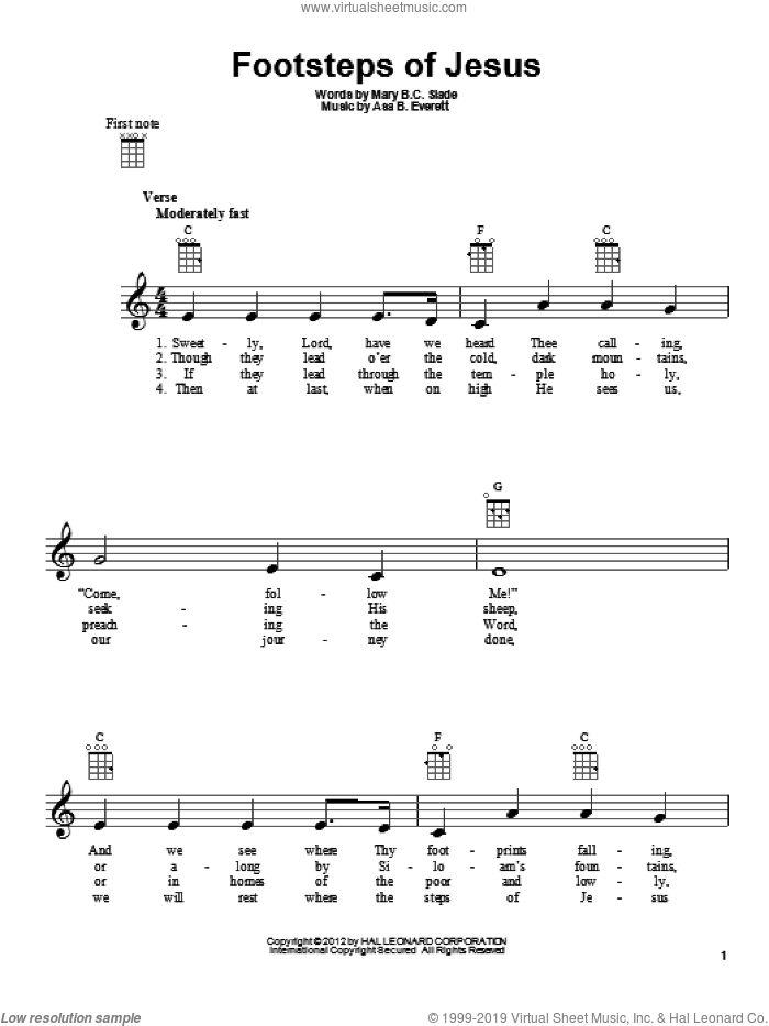 Footsteps Of Jesus sheet music for ukulele by Mary B.C. Slade. Score Image Preview.