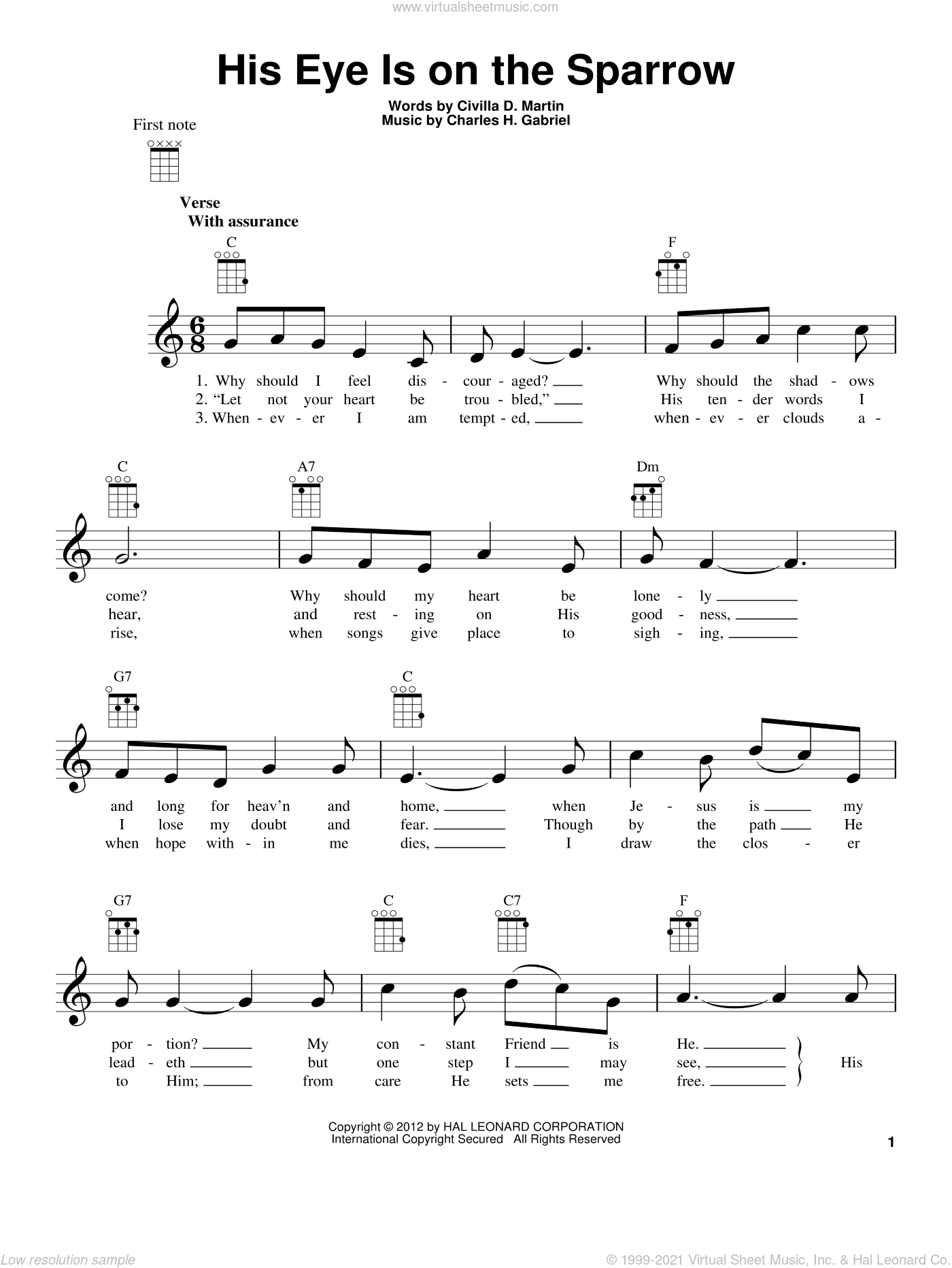 His Eye Is On The Sparrow sheet music for ukulele by Charles H. Gabriel and Civilla D. Martin, intermediate ukulele. Score Image Preview.