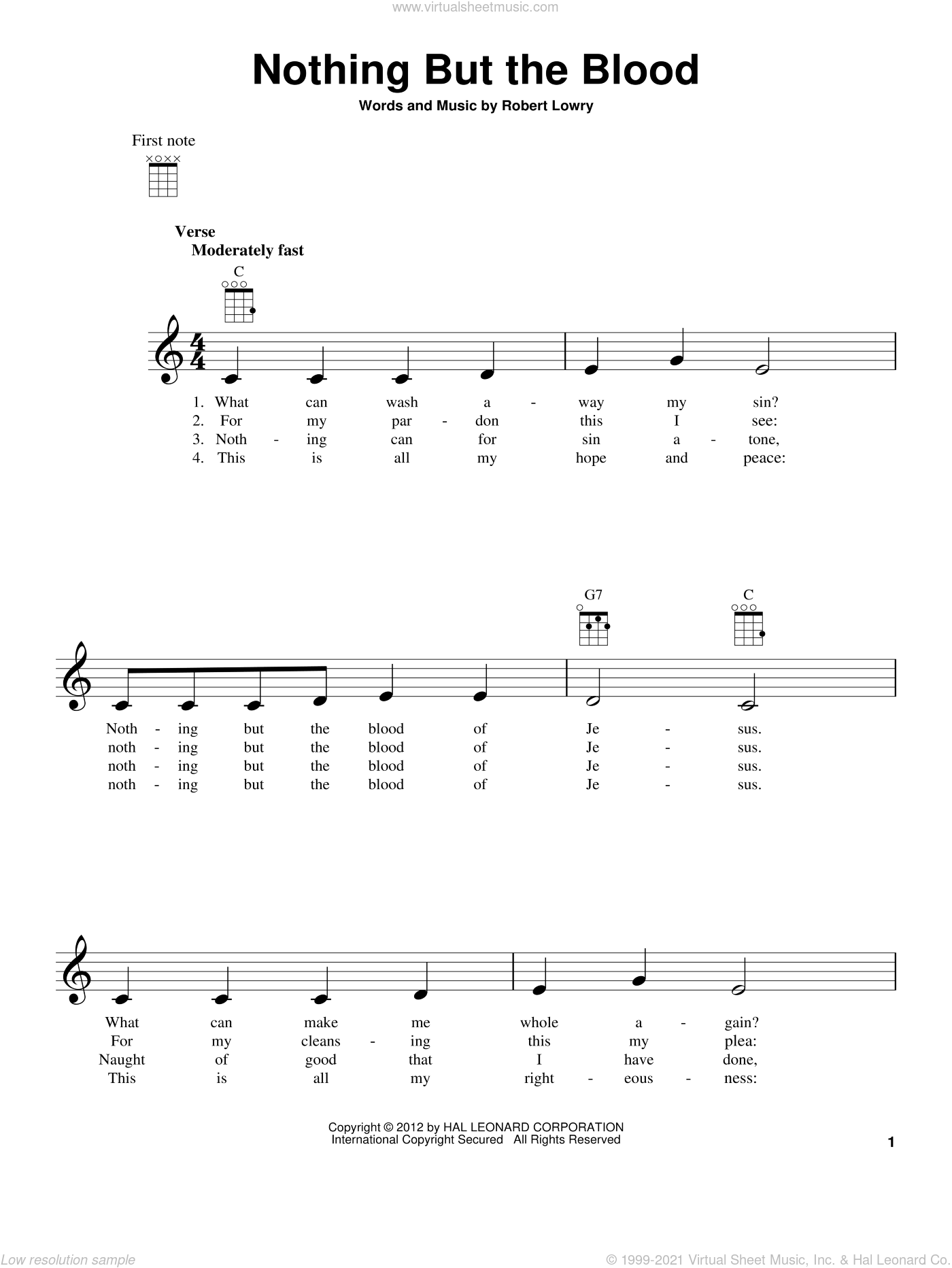 Nothing But The Blood sheet music for ukulele by Robert Lowry. Score Image Preview.