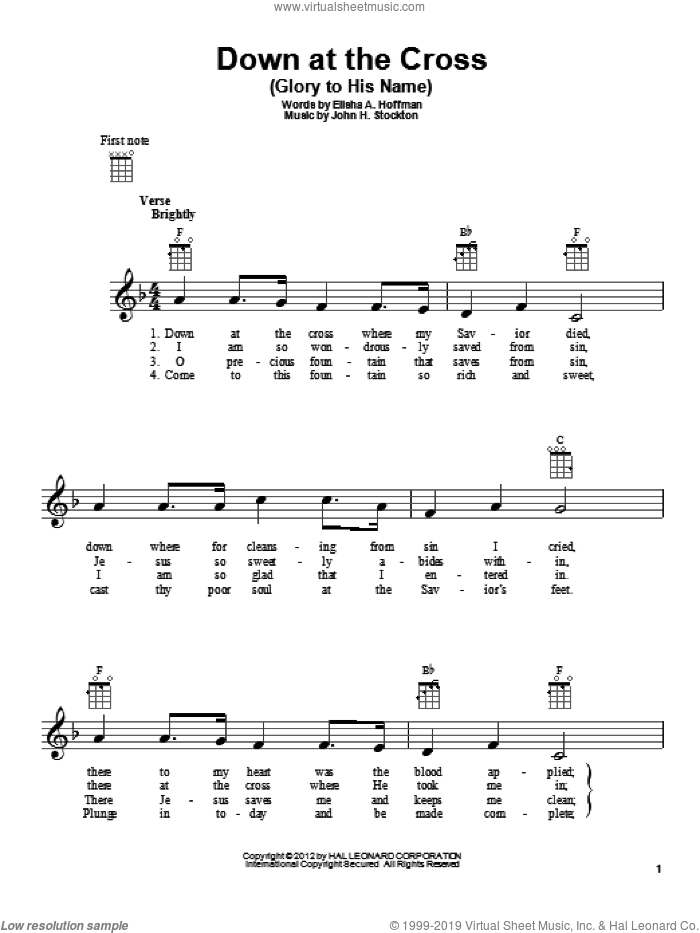 Down At The Cross (Glory To His Name) sheet music for ukulele by John H. Stockton and Elisha A. Hoffman. Score Image Preview.