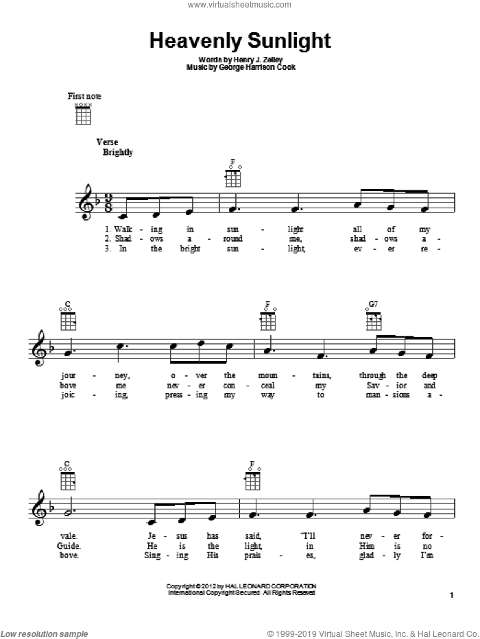 Heavenly Sunlight sheet music for ukulele by George Harrison Cook and Henry J. Zelley, intermediate skill level