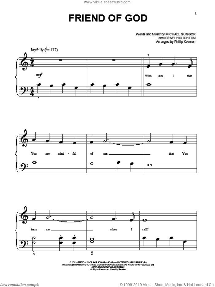 Friend Of God sheet music for piano solo (big note book) by Israel Houghton and Michael Gungor, easy piano (big note book)