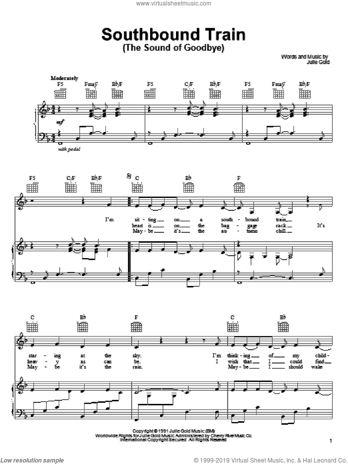 Southbound Train (The Sound Of Goodbye) sheet music for voice, piano or guitar by Julie Gold